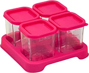 green sprouts Fresh Baby Food Glass Cube, 118 ml Capacity 4 Pieces, Pink, 4 Count, 4 Count