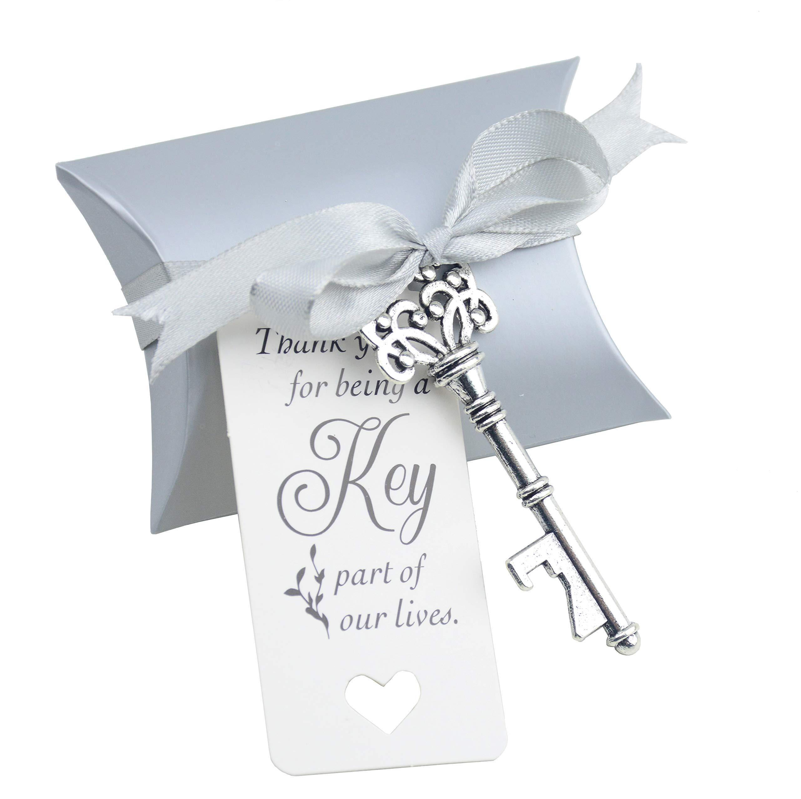 Aokbean 50pcs Wedding Favor Souvenir Gift Set Pillow Candy Box Vintage Skeleton Key Bottle Openers Escort Gift Card Thank You Tag French Ribbon (Silver) by Aokbean