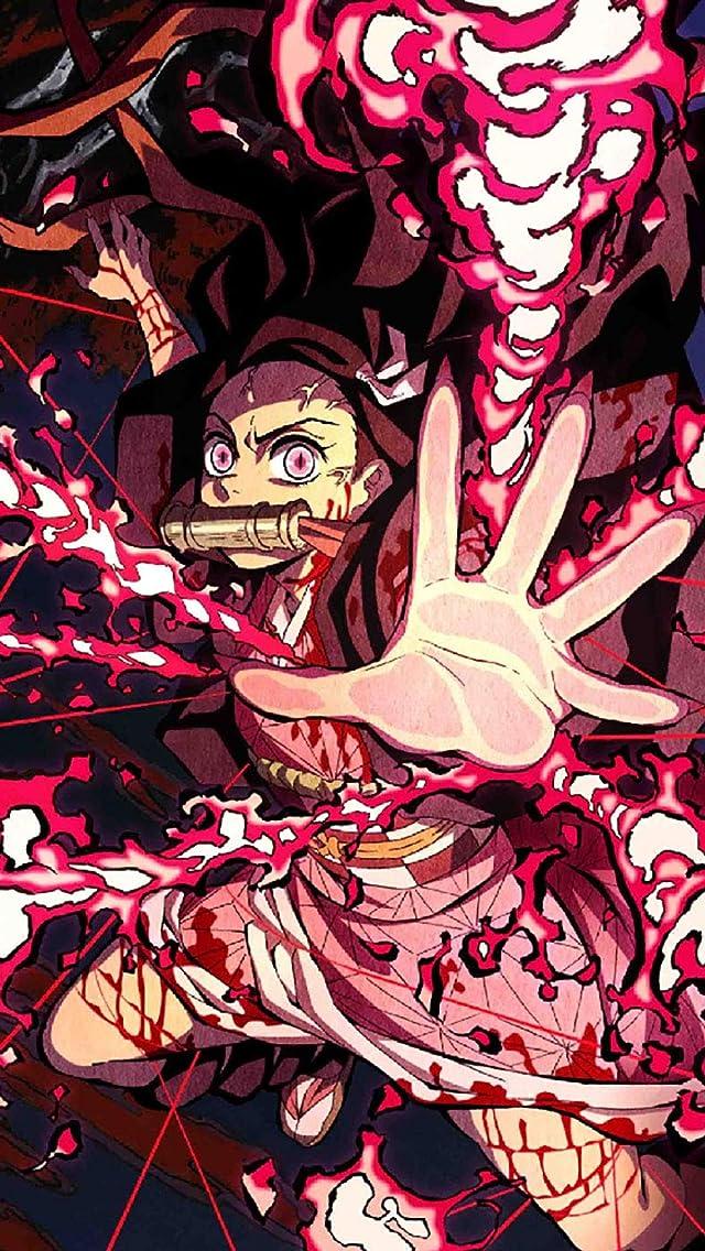 鬼滅の刃 竈門禰豆子 (かまどねずこ) 血鬼術 爆血 iPhoneSE/5s/5c/5(640×1136)壁紙画像