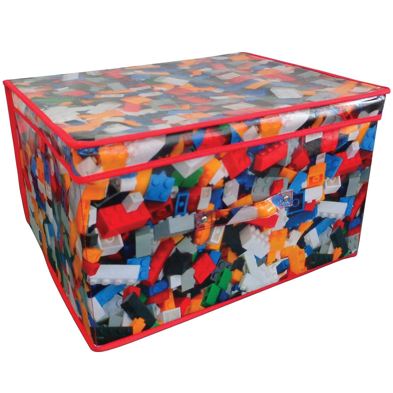 Pieghevole cassapanca per giochi con disegno di mattoncini giocattolo, formato jumbo, 50 x 30 x 40 cm