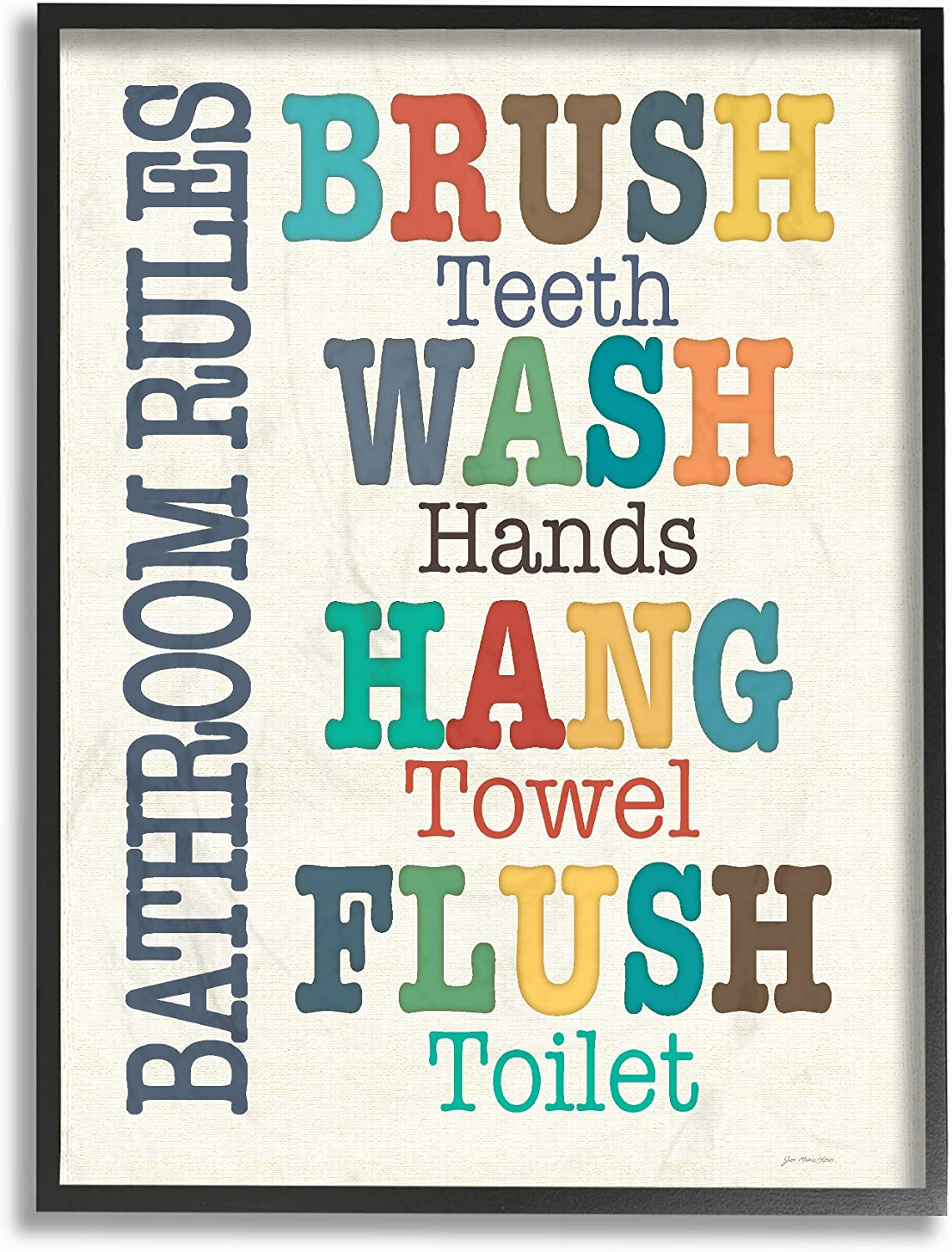 """The Stupell Home Decor Collection Colorful Bathroom Rules Typog Art 16"""" x 20"""" Framed Giclee"""
