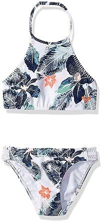 673abd071094f Roxy Big Girls' in My Dreams Crop Swimsuit Set, Bright White Summer Spirit  Southwest