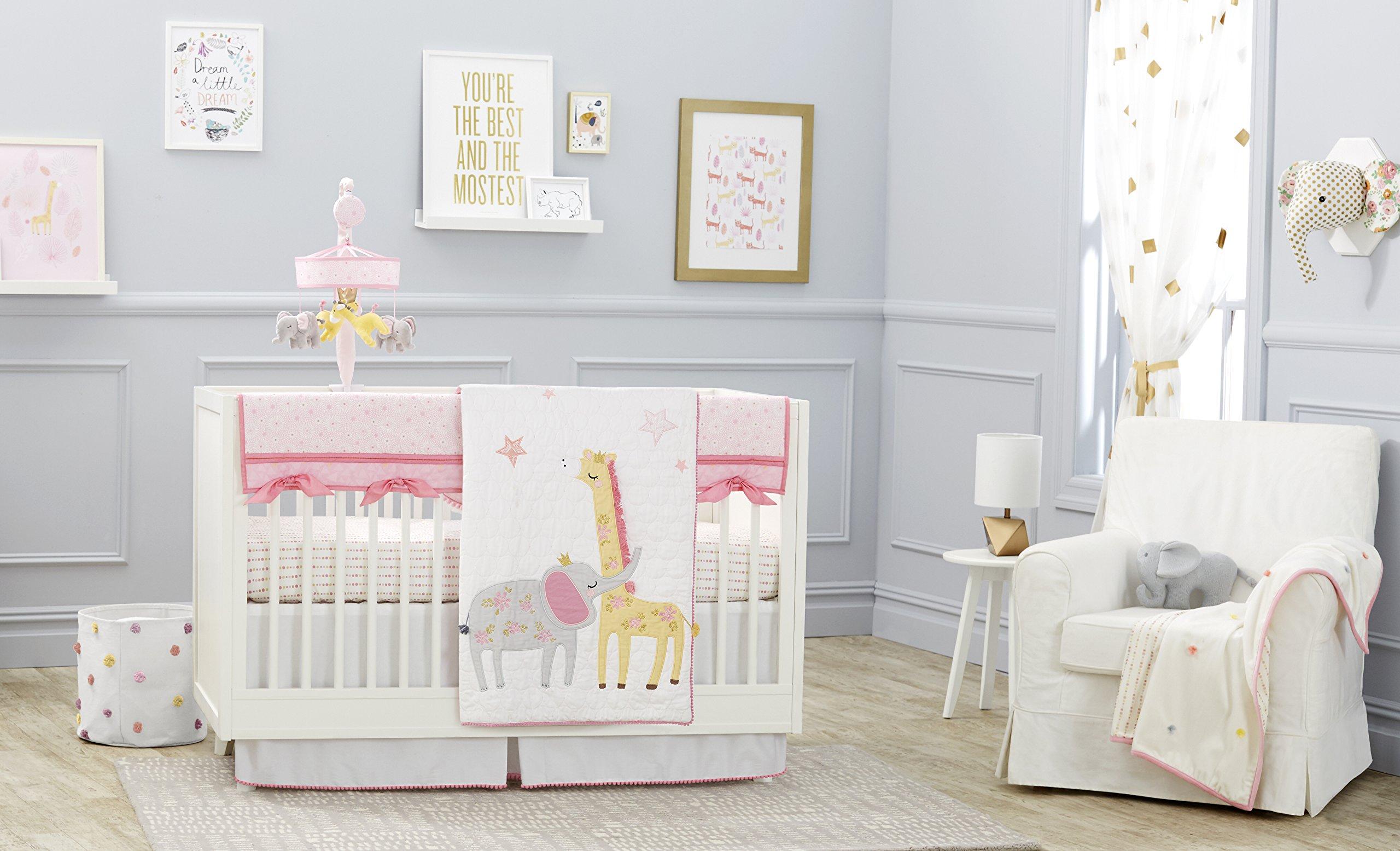 Just Born Jungle 3-Piece Crib Bedding Set, Pink