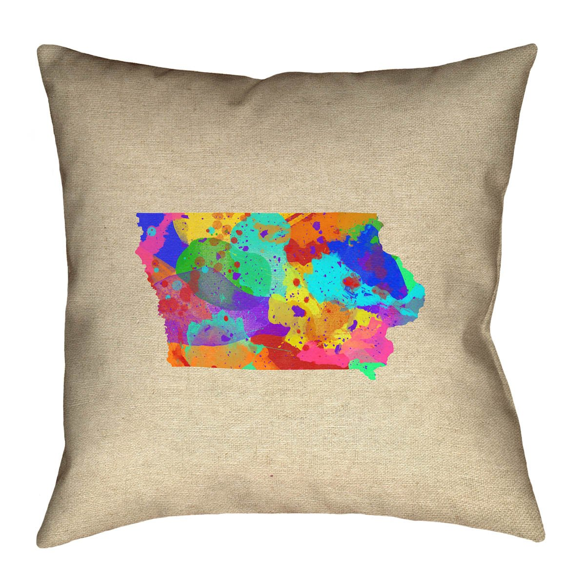 ArtVerse Katelyn Smith 18 x 18 Cotton Twill Double Sided Print with Concealed Zipper /& Insert Iowa Watercolor Pillow