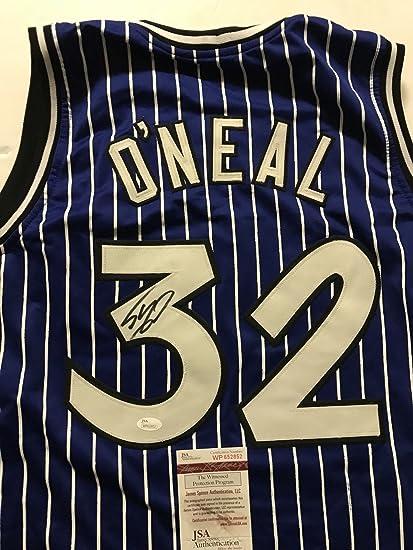 54b5d919931 Autographed Signed Shaquille Shaq O Neal Orlando Blue Pinstripe Basketball  Jersey JSA COA