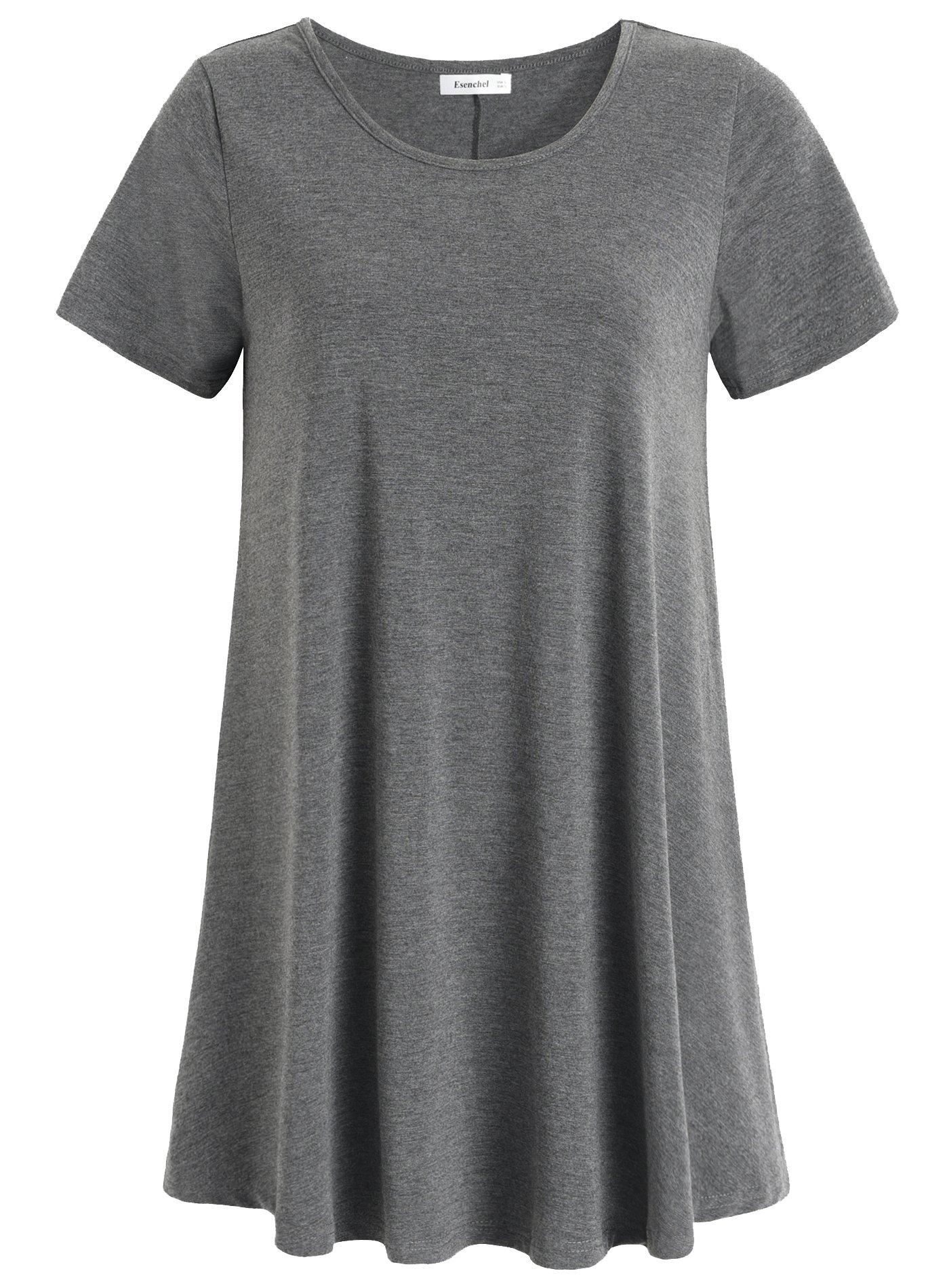 Esenchel Women's Tunic Top Casual T Shirt for Leggings 2X Deep Gray