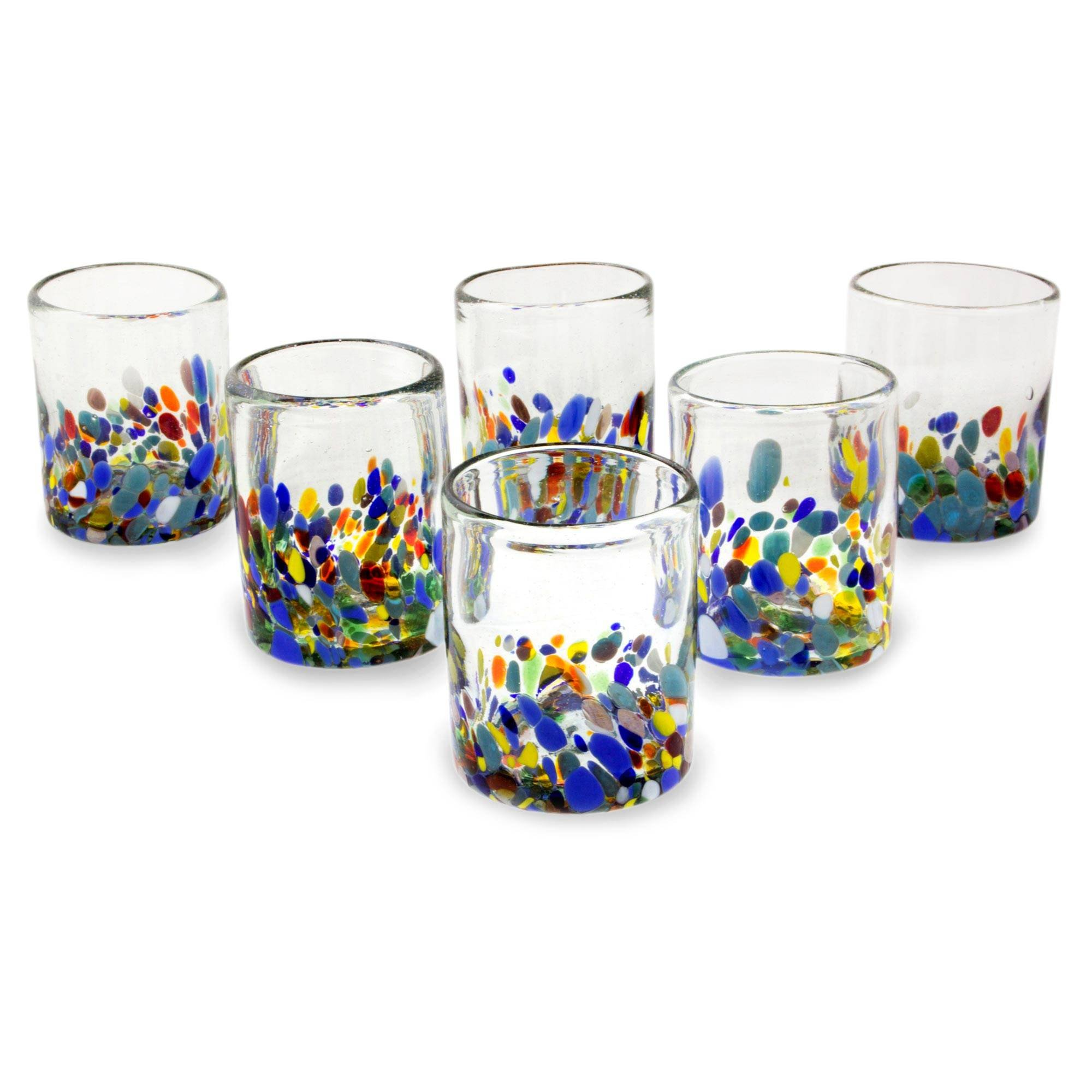NOVICA Hand Blown Multicolor Recycled Glass Tumbler Glasses, 10 oz. 'Confetti Festival' (set of 6) by NOVICA