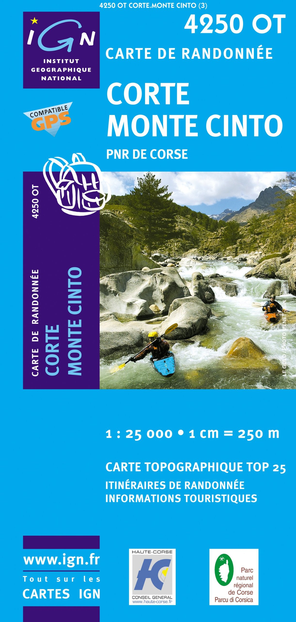 Korsika Corte - Monte Cinto - Parque National de la Corse 1 : 25 000: Carte de Randonnée