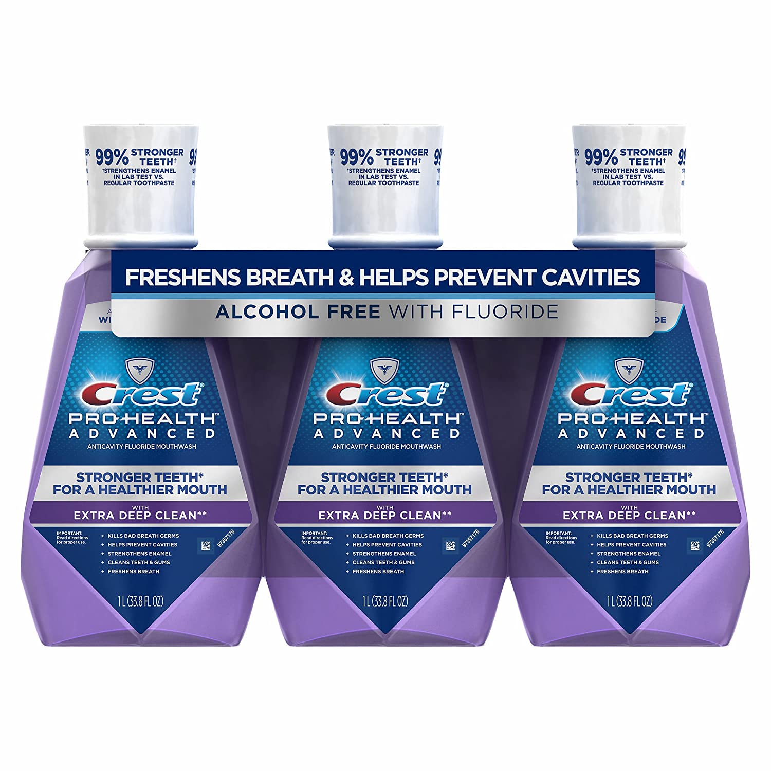 Product of Crest Pro-Health Advanced Clean Mint Mouthwash with Extra Deep Clean, 3 pk./1L - Oral Rinse & Mouthwash [Bulk Savings]