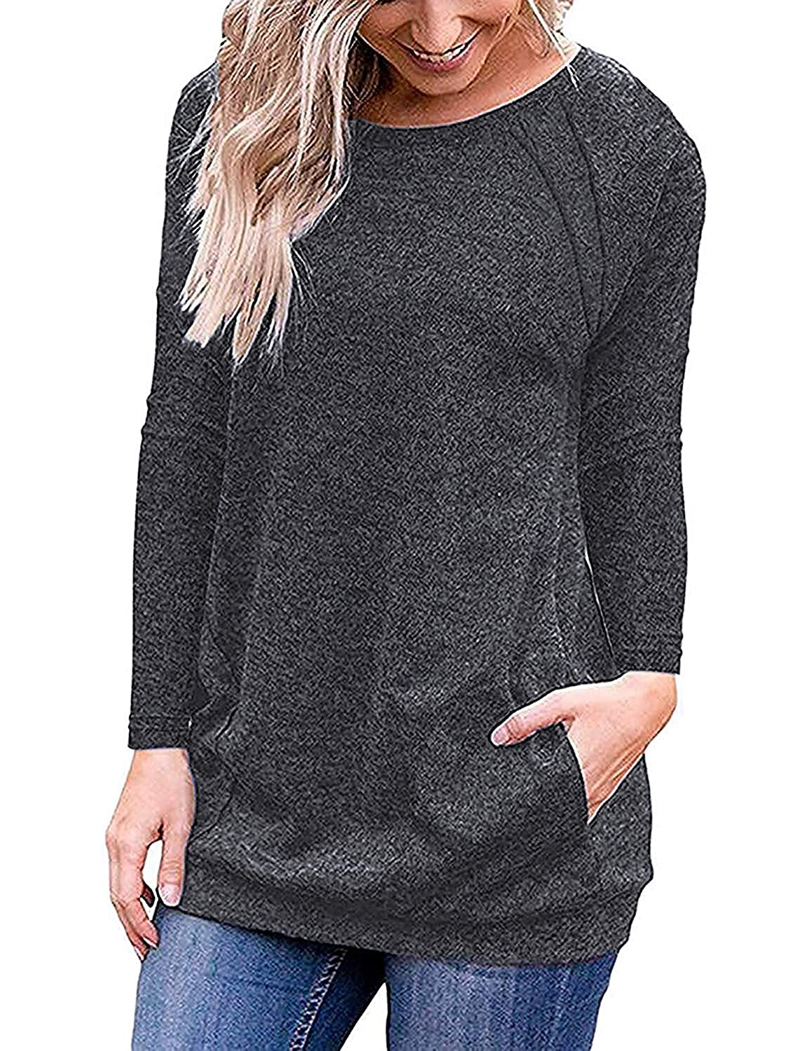 iClosam Women's Casual Short Sleeve T-Shirt Round Neck Loose Tunic Tops with Pockets