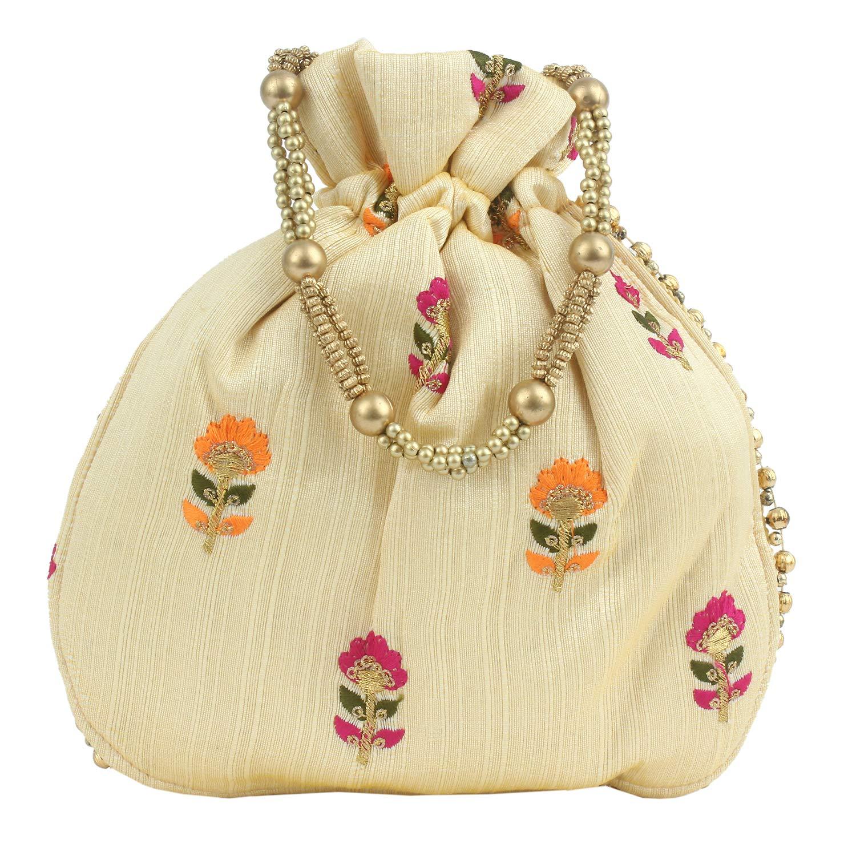 Cream potli bag