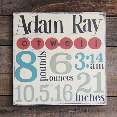 Amazon.com: Personalized Baby Birth Wood Sign, Personalized Baby ...