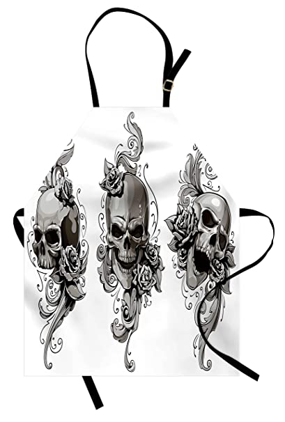 fc4d432c7 Lunarable Tattoo Apron, Revenge Fierce Faced Skull Triplets with Romantic  Detail of Rose Image Print