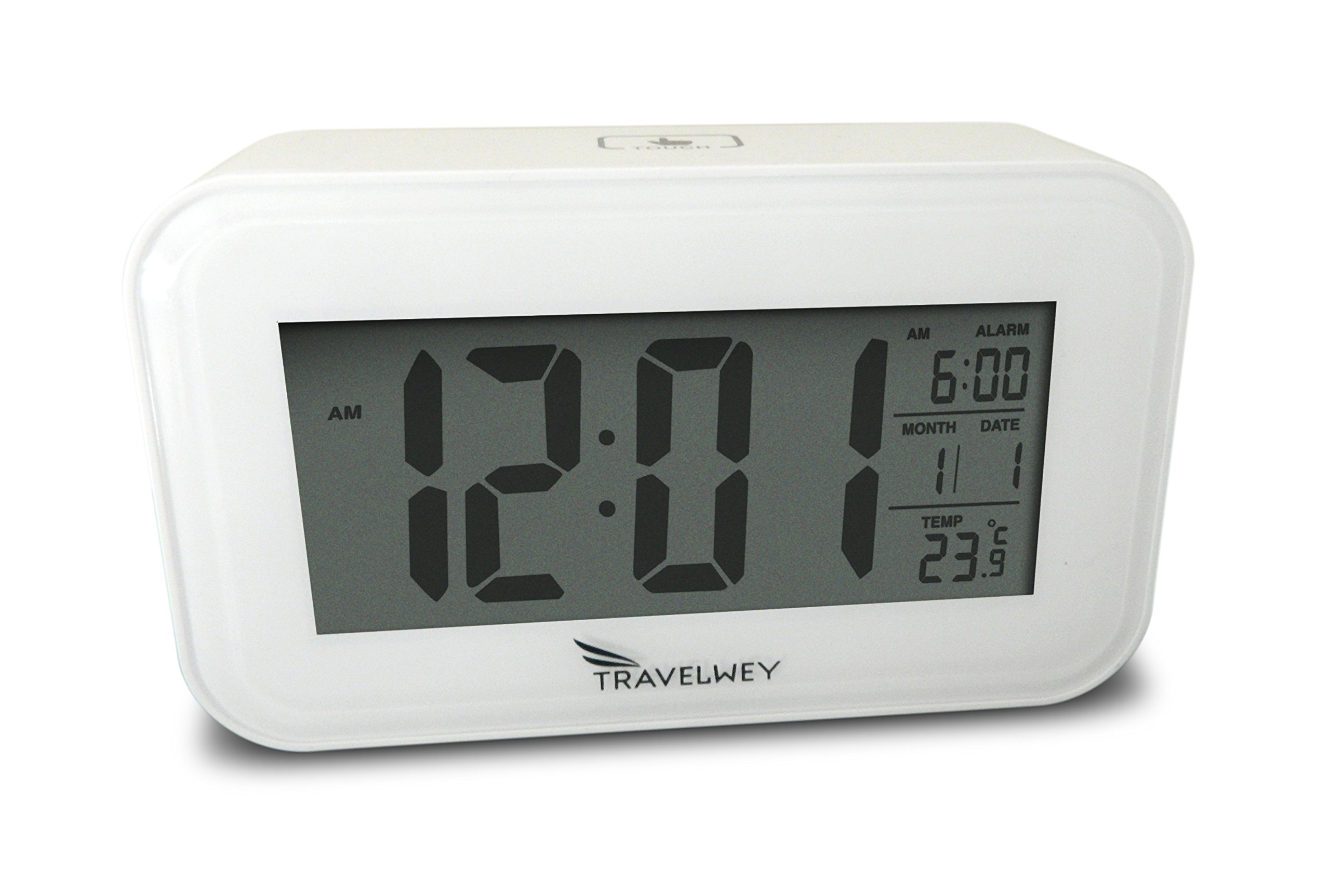 Night-Time Digital Alarm Clock for Bedrooms, Visible at Night, Snooze, Temperature, Date, Two USB Charging Ports, White