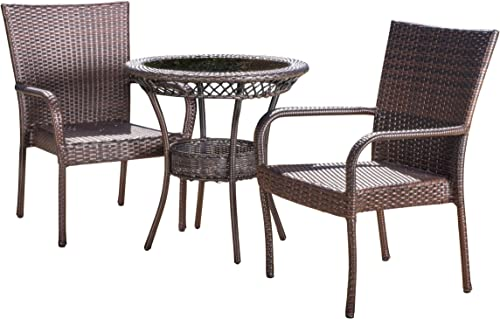 Christopher Knight Home 295693 Ferndale Patio Furniture Outdoor Multibrown Wicker 3pc Bistro Set, Brown