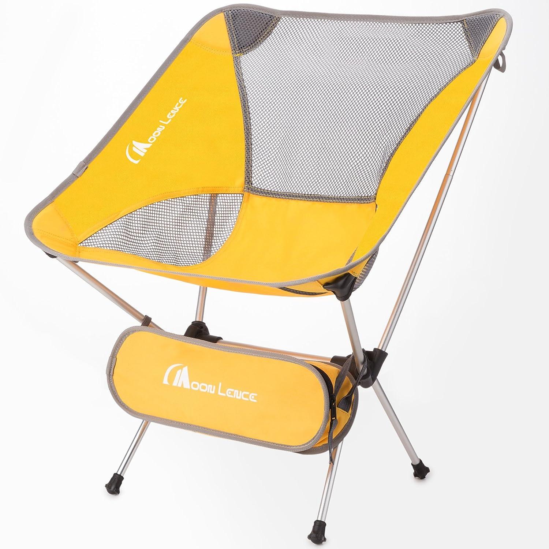 Moon Lenceコンパクト超軽量ポータブル折りたたみバックパッキングキャンプ椅子with Carryバッグ B07434VH2S イエロー イエロー