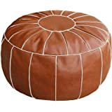 Thgonwid Unstuffed Handmade Moroccan Round Pouf Foot Stool Ottoman Seat Faux Leather Large Storage Bean Bag Floor Chair Foot