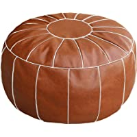 Thgonwid Unstuffed Handmade Moroccan Round Pouf Foot Stool Ottoman Seat Faux Leather Large Storage Bean Bag Floor Chair…