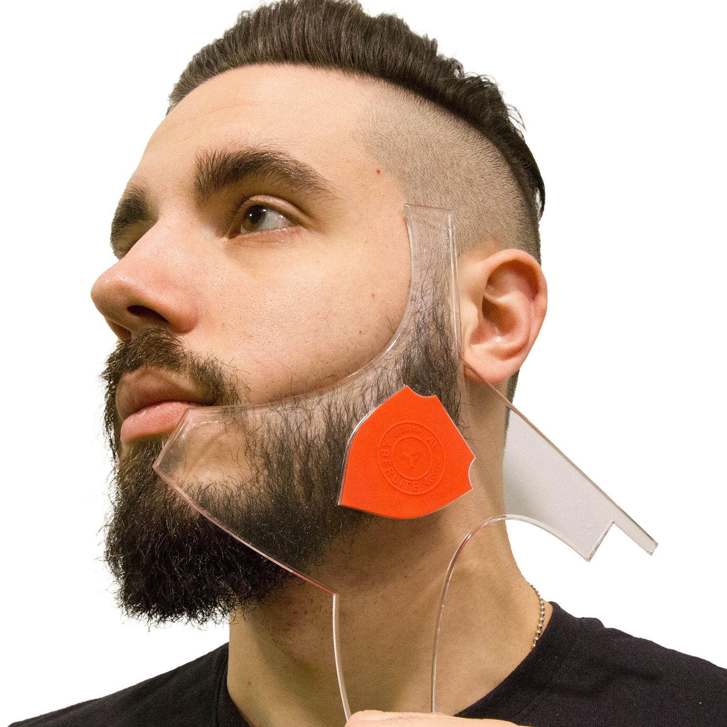 Aberlite Beard Shaper - Beard Lineup Tool W/Barber Pencil (White) - 100% Clear | Many Styles | Long Edges | Anti-Slip - The Ultimate Beard Shaping Tool (Blue) - Beard Stencil Guide - Works w/Trimmer
