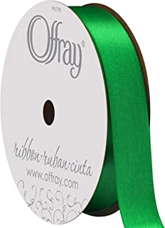 """product image for Berwick Offray 068854 5/8"""" Wide Single Face Satin Ribbon, Emerald Green, 6 Yds"""