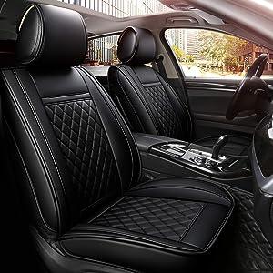 INCH EMPIRE Easy to Clean Car Seat Covers Leatherette Car Seat Cushion - Adjustable Back Universal Fit for Chevrolet Ford Honda Hyundai Kia Mazda Nissan Subaru Toyota (Black Grid Full Set)