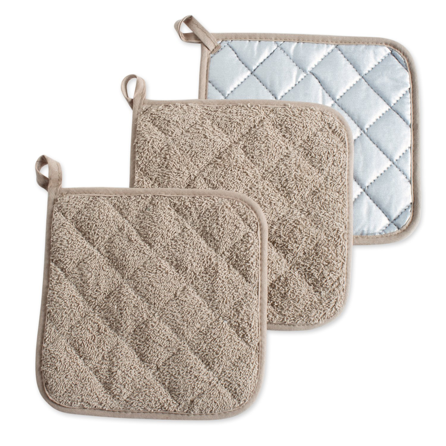 DII, Cotton Terry Pot Holders, Heat Resistant and Machine Washable, Set of 3, Stone