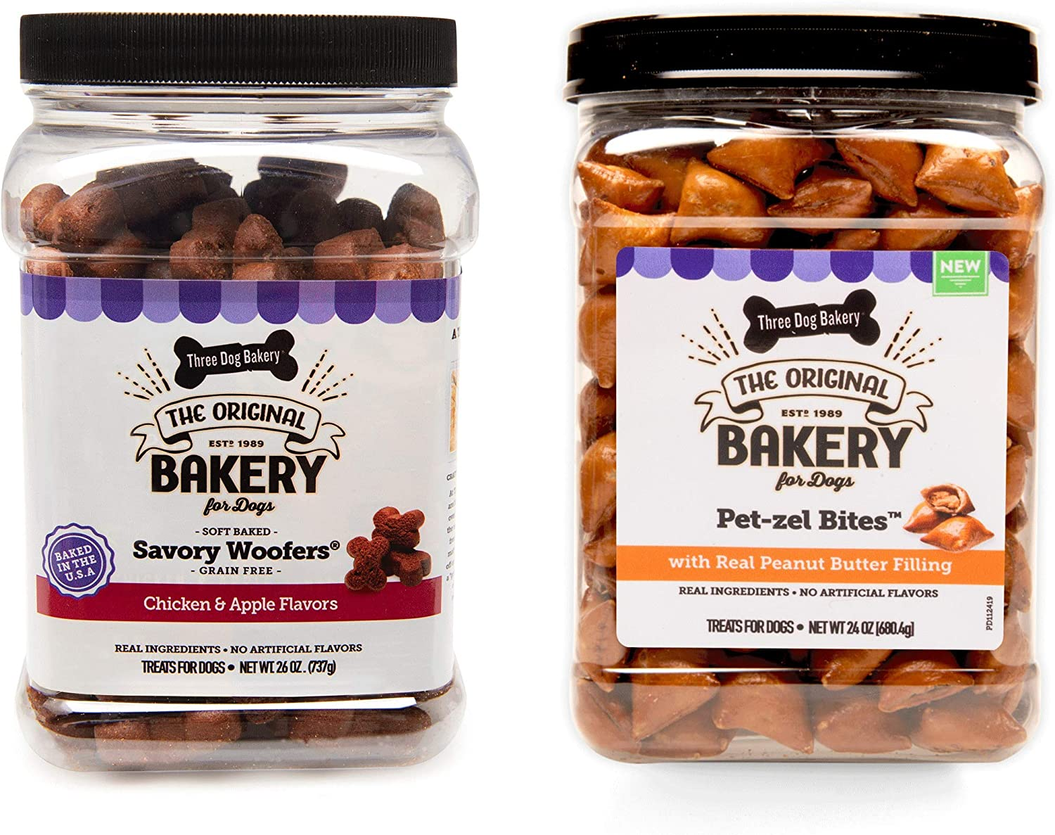 Three Dog Bakery Snack Jars Premium Treats for Dogs, Soft Baked Grain Free Meaty Woofers, Chicken and Apple & Crunchy Pet-zel Bites with Peanut Butter Filling, 49 Ounces, 2-Pack