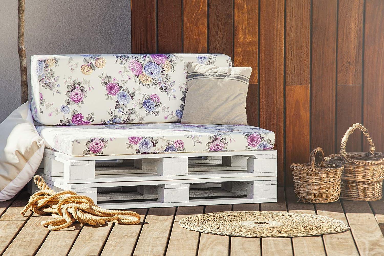 SUENOSZZZ - Conjunto colchoneta para Sofas de Palet y Respaldo (1 x Unidad) Cojin Relleno con Espuma. Loneta HP City | Cojines para Chill out, ...