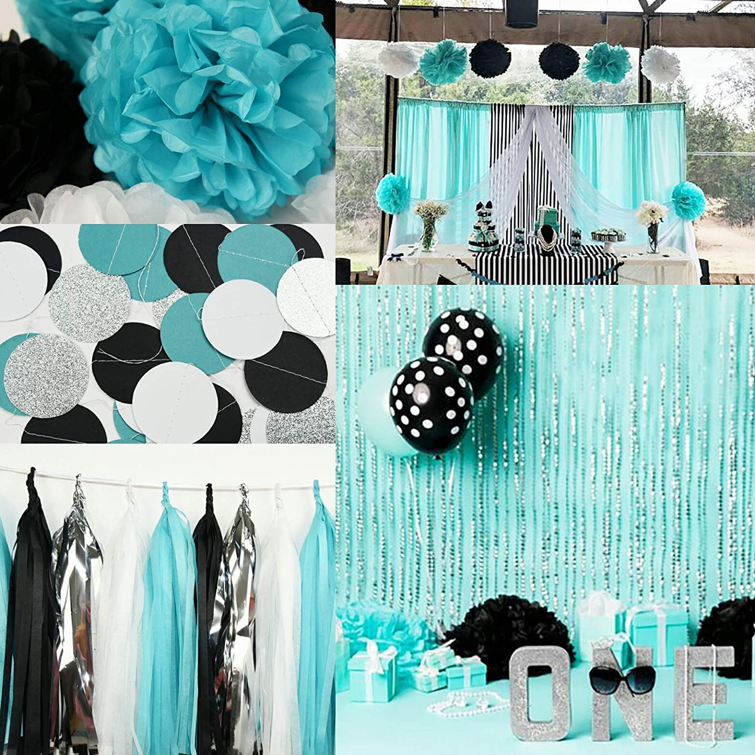 Teal Decorations Baby Shower Decorations Aqua Bridal Shower Robins Egg Blue and Silver Decorations Silver 100 Aqua Teal /& Silver Confetti