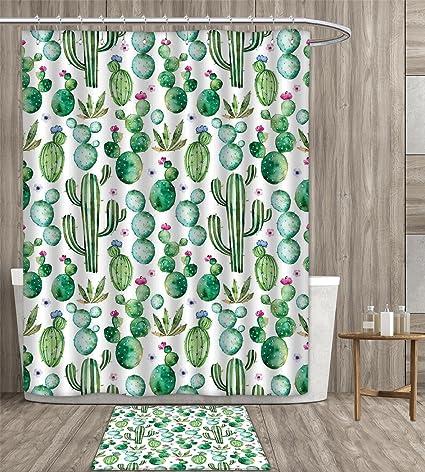 Green Shower Curtain Customize Mexican Texas Cactus Plants Spikes Cartoon Like Artistic Print Fabric Bathroom Set