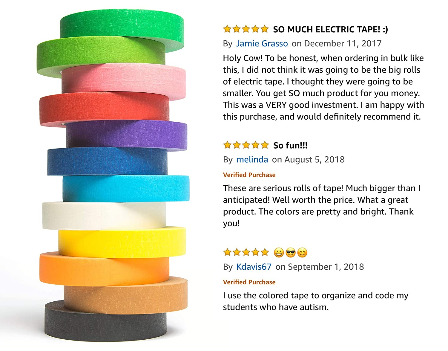 amazon com 12 rolls of colored masking tape 1 in x 60 yds great