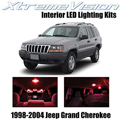 Xtremevision Interior LED for Jeep Grand Cherokee 1998-2004 (12 Pieces) Red Interior LED Kit + Installation Tool: Automotive