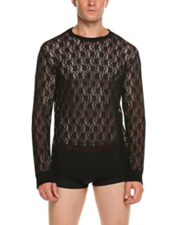 3e2c73f6288 JINIDU Mens See Through Mesh T-Shirts Long Sleeve Sexy Fashion Tees Tops -  Black - XXL  Amazon.co.uk  Clothing