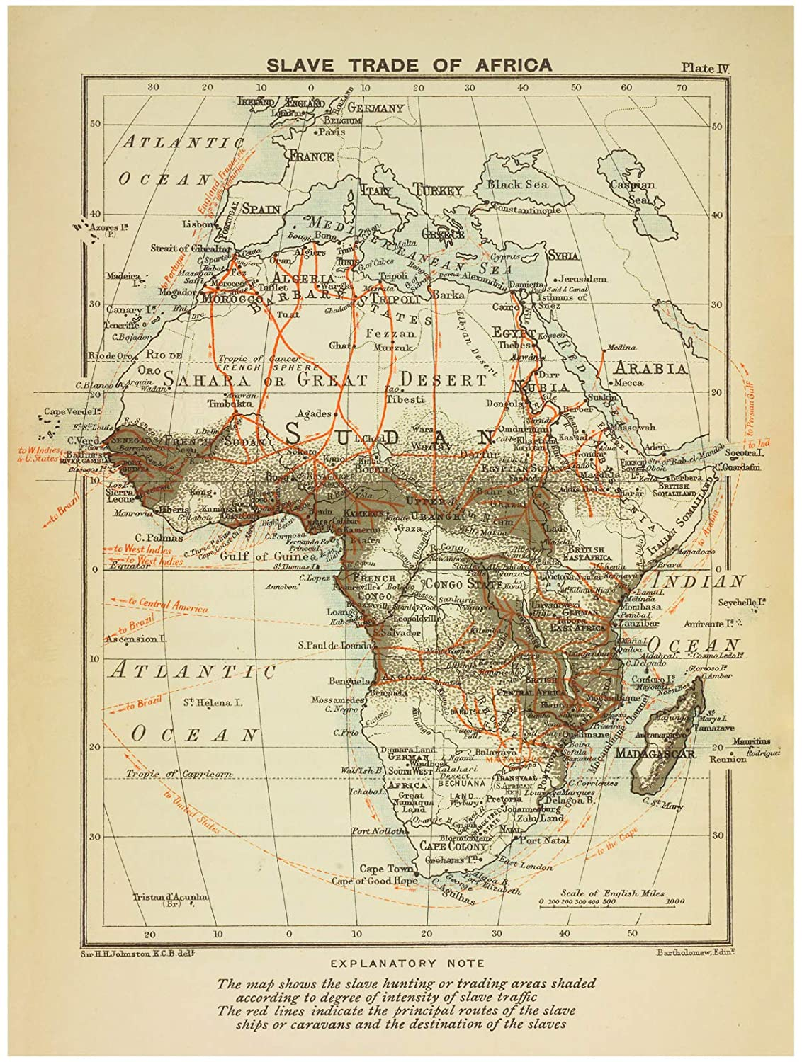Historic 1899 Map | Slave trade of Africa. | AfricaAntique Vintage Map Reproduction Historic Pictoric