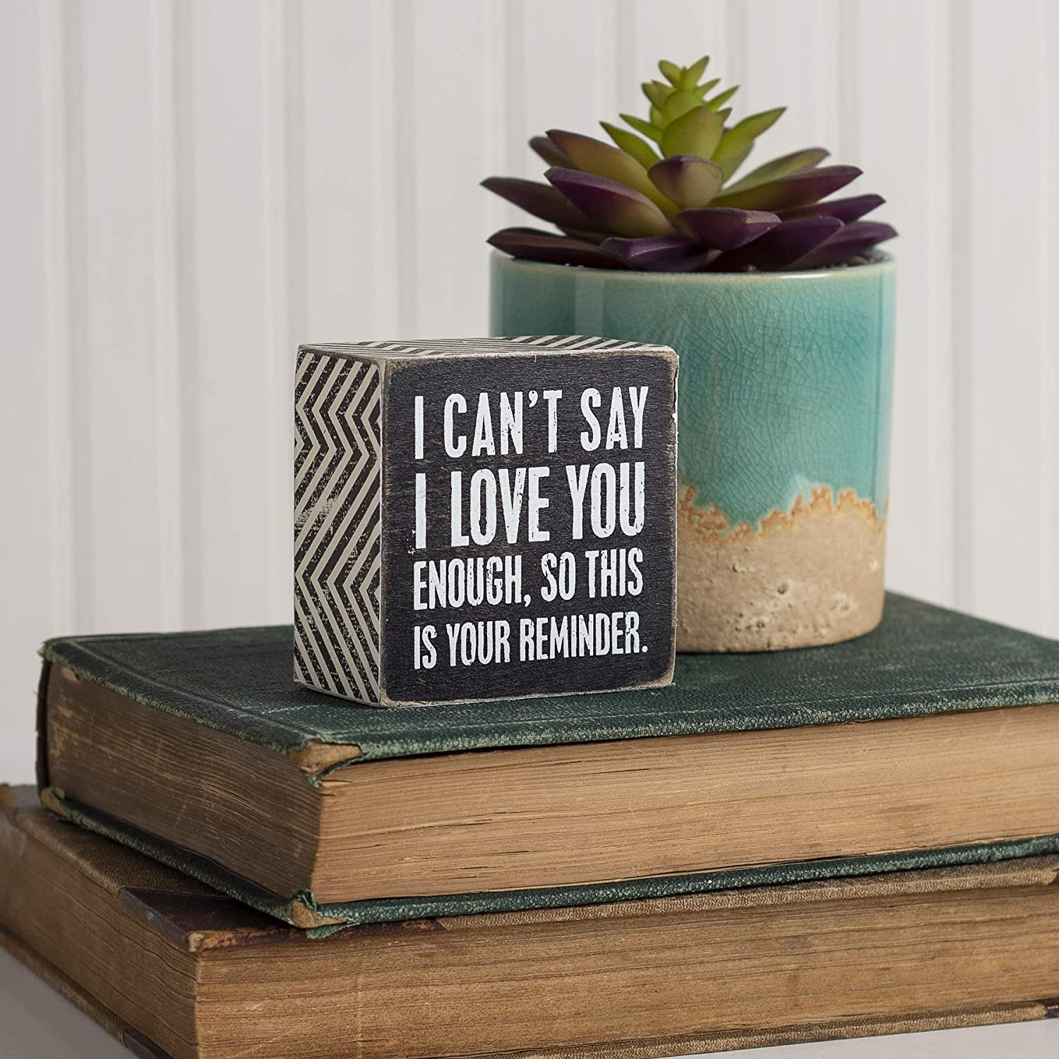 I Love You Primitives by Kathy Chevron Trimmed Box Sign 3 x 3-Inches