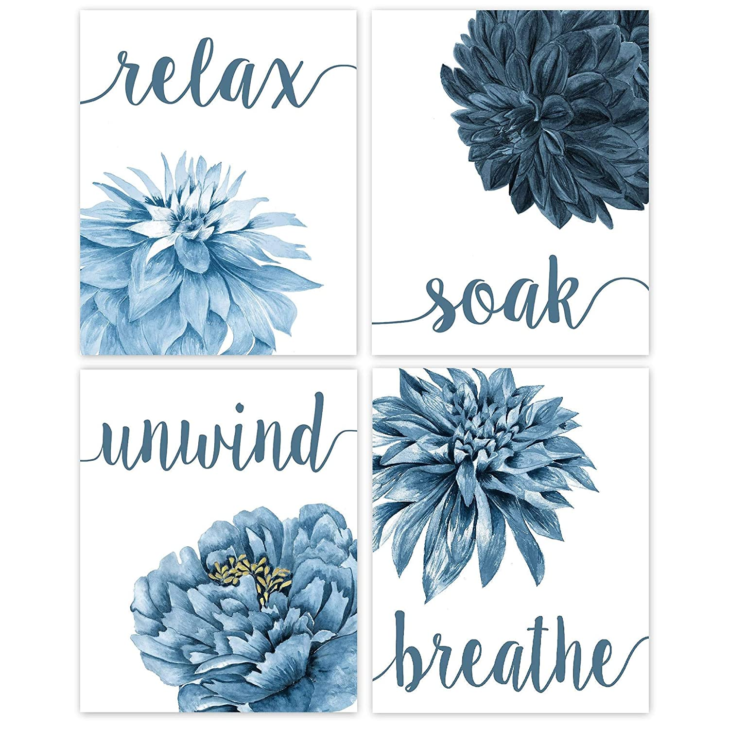 Relax, Soak, Unwind, Breathe Navy Blue Tone Bath Flower Poster Prints, Set of 4 (8x10) Unframed Photos, Wall Art Decor Gifts Under 20 for College, Home, College Student, Teacher, Floral Fan