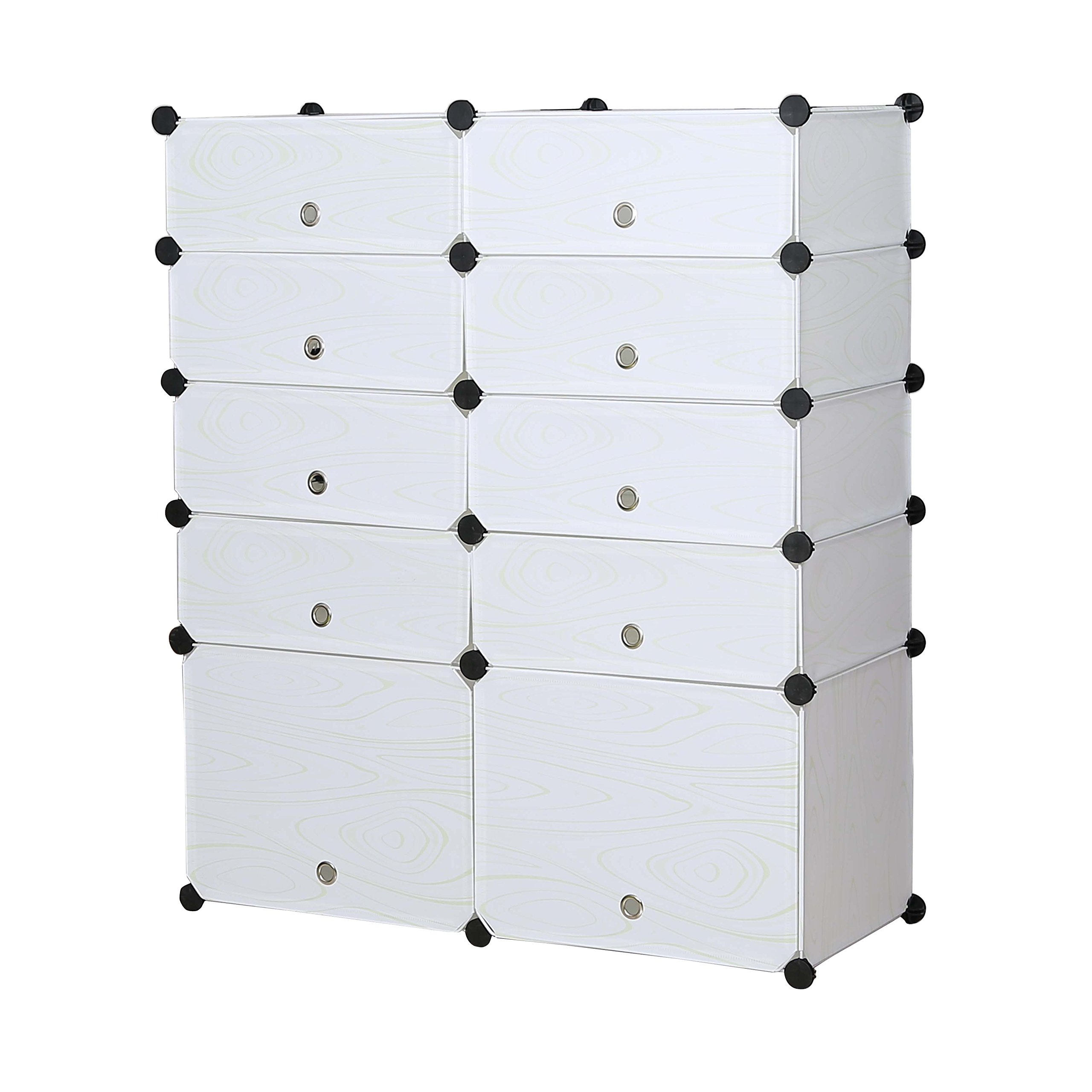 UNICOO - Multi Use DIY Plastic 10 Cube Shoe Rack,Organizer, Bookcase, Shoes Cabinet (25 With Boots Cube, White Wood Grain) by UNICOO (Image #5)