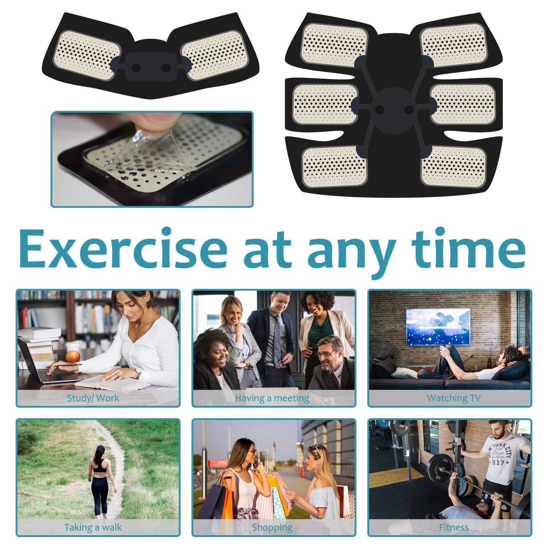 Fayleer Electroestimulador Muscular 6 Modos y 10 Niveles de Intensidad EMS Estimulador Muscular para Abdomen Brazo Piernas Entrenador Muscular