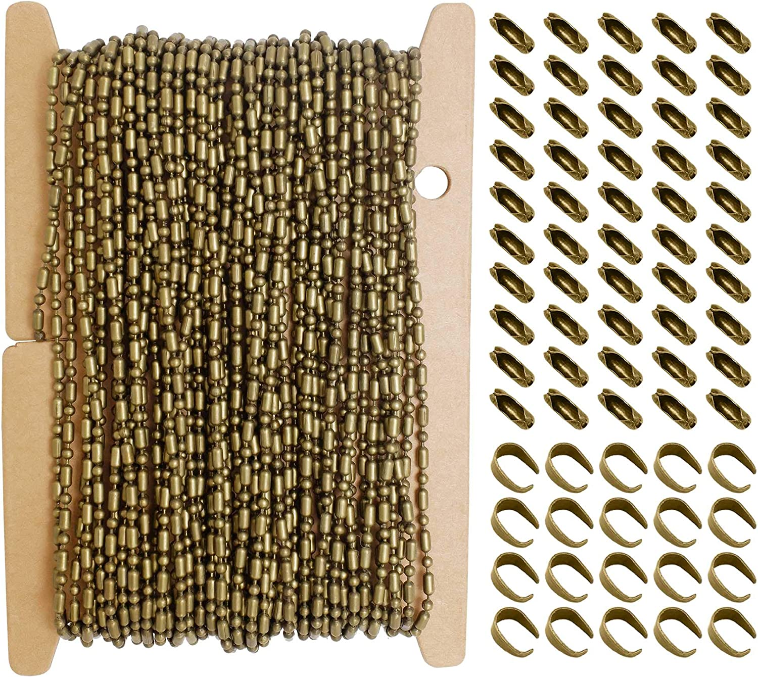 with Connector Clasps+Pinch Bails Bronze Beads Ball Chains for Jewelry Making Set 10m ZCNest 32.8 Ft Cable Link Craft Chain Findings for Necklace Bracelet Earring DIY Wide 1.5mm/_2076-B