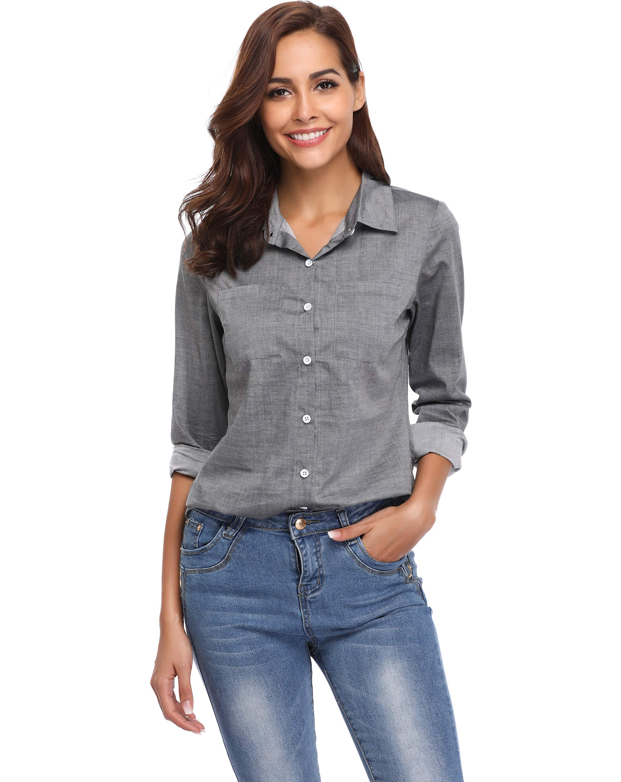 Argstar Women's Chambray Button Down Shirt Long Sleeve Jeans Top,Gray,Large (US 12-14) by Argstar (Image #5)