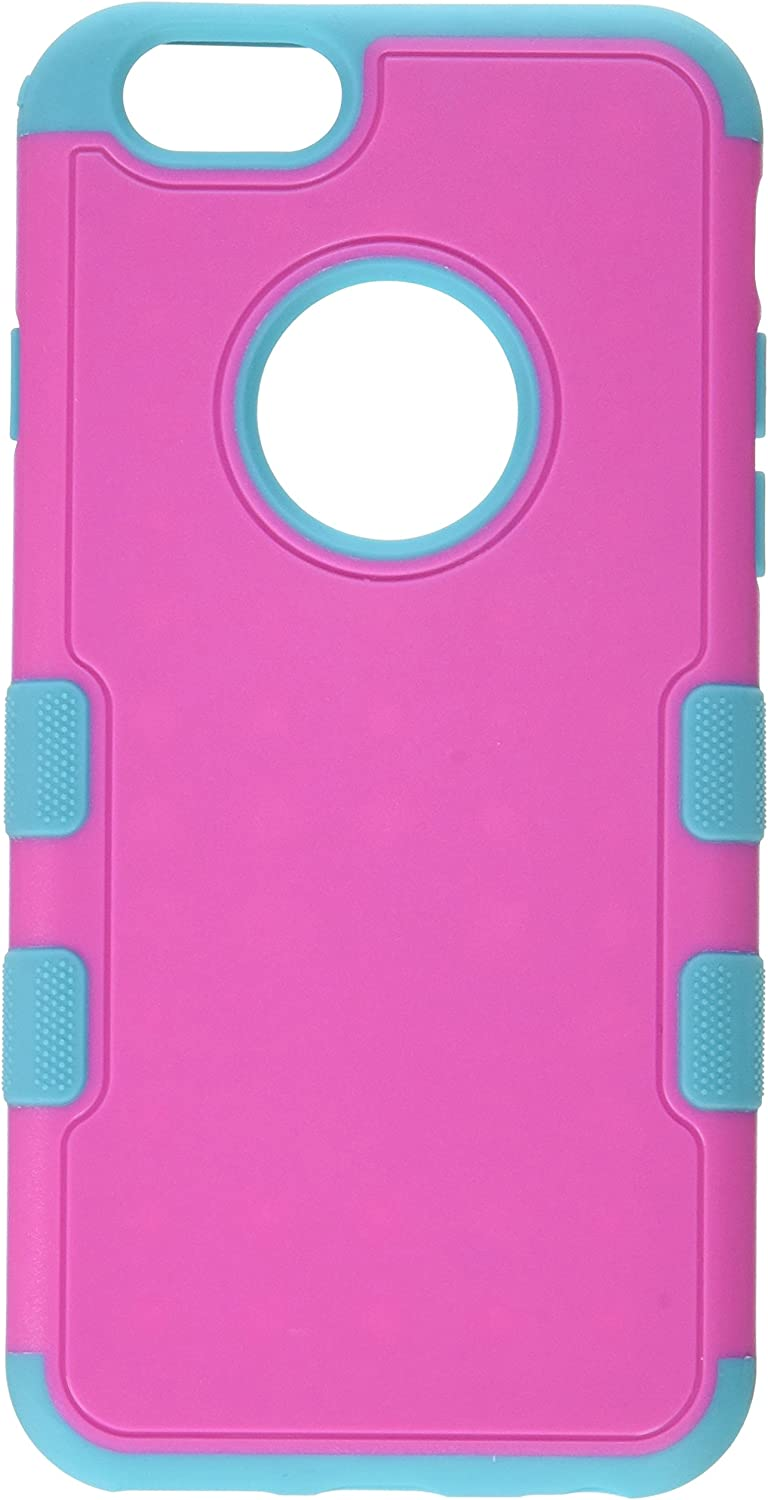 Asmyna TUFF Merge Hybrid Protector Cover for iPhone 6 - Retail Packaging - Natural Hot Pink/Tropical Teal