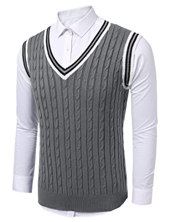 Coofandy Mens Casual Knitted Sweater Slim Fit Pullover Cable Sweater