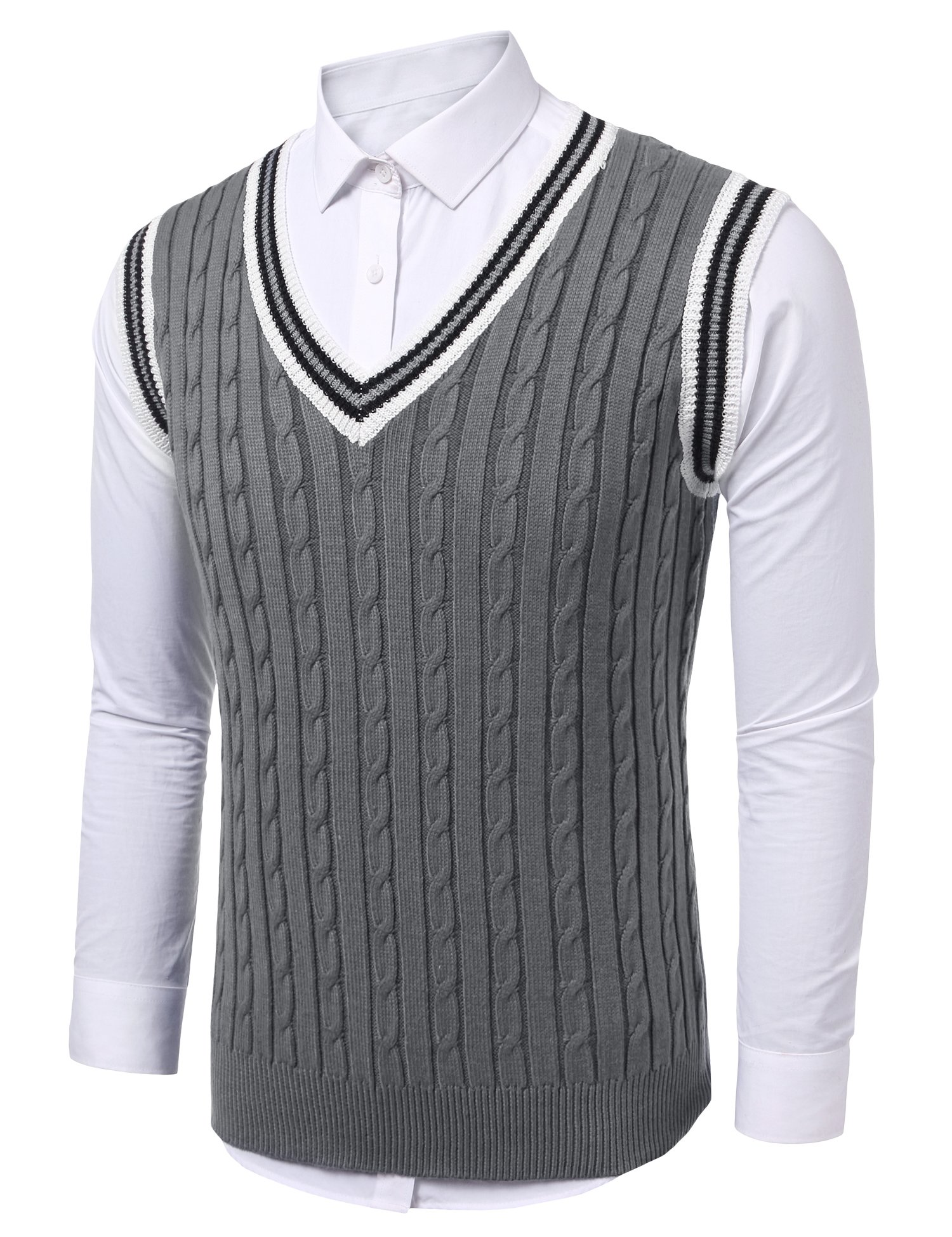 COOFANDY Mens Casual Knitted Sweater Slim Fit Pullover Cable Sweater Links-Vest