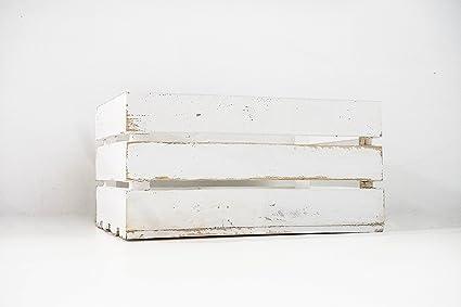 Caja de Madera de Fruta Blanco Vintage Sam, Cajas Tipo Fruta, Madera de Pino