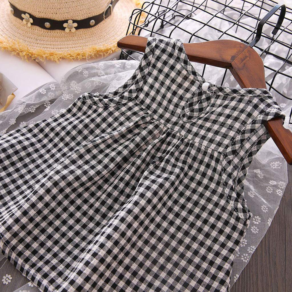 Whitegeese Toddler Kids Baby Girls Outfits Clothes Plaid Vest T-Shirt Tops+Shorts Pants Set