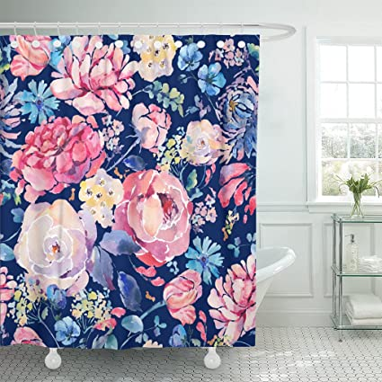 Emvency Shower Curtain Bright Vintage Natural Floral Watercolor With Chrysanthemums Roses And Wildflowers Botanical On Navy