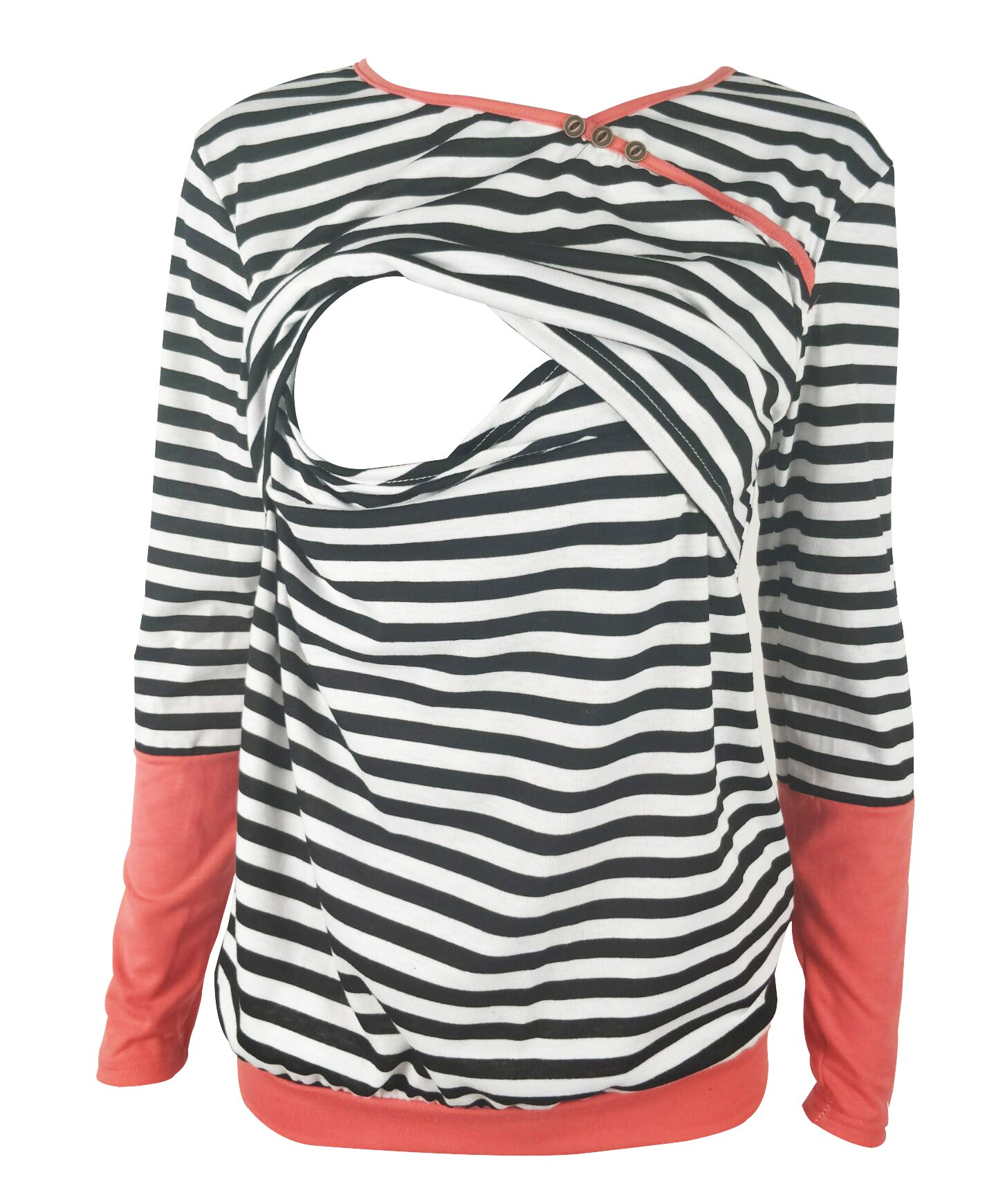 Chulianyouhuo Breastfeeding Shirt Striped Patchwork Long Sleeve Maternity Breastfeeding and Nursing Tops (XL, Coral)