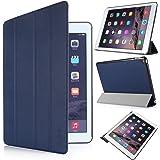 iHarbort® Apple iPad Air 2 Custodia - angolazioni multiple Smart Cover titolare Stand in pelle per Apple iPad Air 2, con ilsonno / sveglia funzione (iPad Air 2, blu scuro)