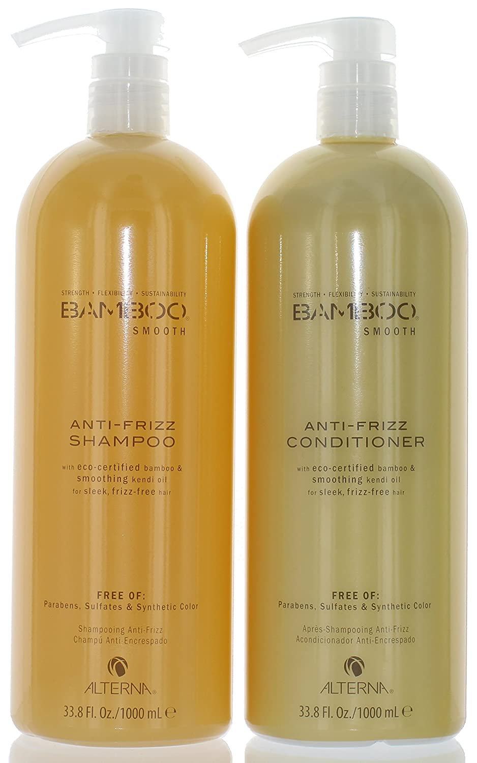 Alterna Bamboo Smooth Anti Frizz Shampoo and Conditioner 33.8 Ounce (w/ pumps)