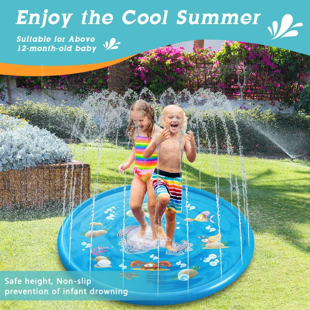 Sprinkle and Splash Play Mat 68in//170cm Outdoor Garden Water Play Water Play Mat Perfect Kids Garden Toys for Summer Non-Inflatable
